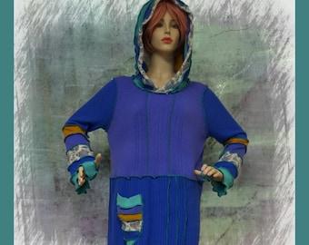 elf sweater, size L, size XL, hoodie, pixie, hiPPIE, steampunk, patchwork, women, jeans skirt, doilies, appliques, lace, embelishment