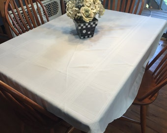 Vintage White Linen Round Dining Luncheon Tablecloth  by MarlenesAttic