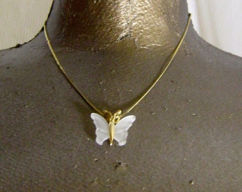 Vintage Gold Plate Frosted Glass Butterfly Pendant Necklace