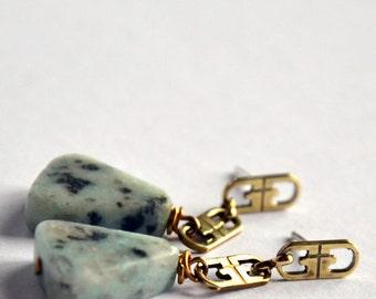 no.PE053_16.  Jasper Triangle sterling silver and brass stud earrings.