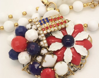 4th of July, Americana, Patriotic, Red, White & Blue, Stunning Assemblage Necklace.  Assembled from vintage earrings, Monet vintage necklace