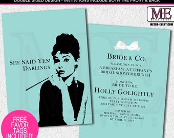 She said Yes, Breakfast at Tiffany's Shower Invitations, Printable Invitation or Printed Invitations