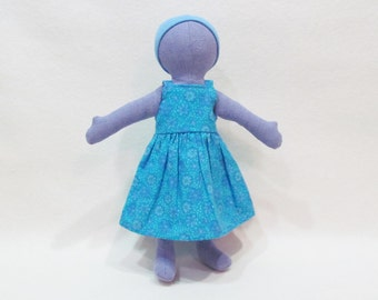 """SALE 11"""" Purple Eco friendly soft hemp linen doll with blue sundress outfit machine washable and baby safe"""