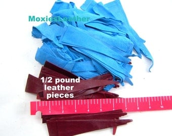 Leather pieces 1/2 pound dark red leather blue suede scraps remnants #157