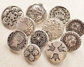 vintage eco friendly silver tone metal and plastic shank buttons with decorative designs//button art jewelry supplies--mixed lot of 11