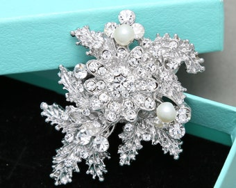 Vintage Wedding Hair Accessories, Flower Plant Leaf Bridal Hair Clip, Wedding Hair Clip Headpiece, Rhinestone Crystal Faux Pearl Hair Clip