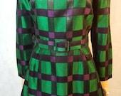 60s/70s Vintage Green Check Big Collar Mod Mini Dress