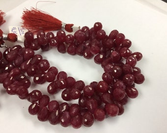 Dyed Ruby Drops Faceted