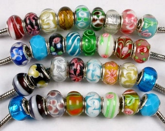 Murano Bead Jewelry Lot 100pcs .925 Sterling Silver Assorted Colors