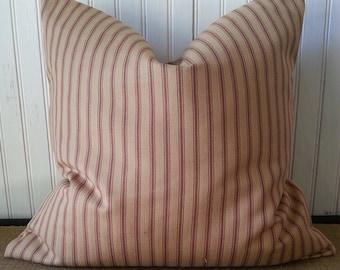 Farmhouse Brown Ticking - Ticking Pillow - Rustic Ticking -  Rustic Pillow - Brown Ticking Pillow -  Pillow Cover - Ticking Pillow