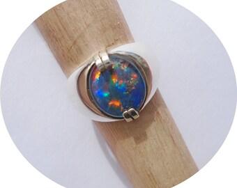 Australian Opal Sterling Silver Ring Size 8.75