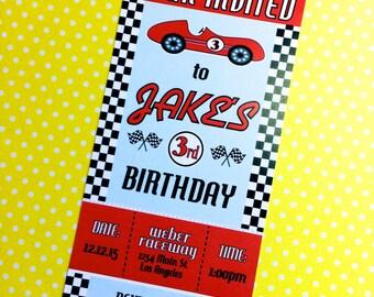 Vintage Custom Race Car Ticket Invitation