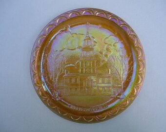Indiana Glass Co Amber Carnival Glass Independence Hall Bicentennial Plate 1970's Vintage