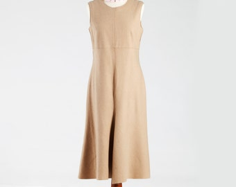 GERARD DAREL France, Designer's Dress, Wool Dress, Mid-1980s Dress, Mod Dress, Color Lion, Luxury Dress, Sleeveless Dress, Vintage 80s Dress