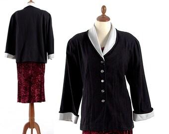 Short Coat, Wool Jacket, Women's Coat, Formal Coat, 1970s Vintage Coat, Black and White Coat, Beautiful Elegant Jacket, Women's Jacket