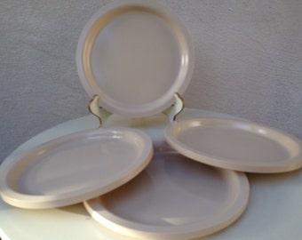 Vintage Kasen melamine plates set 4 ivory beige