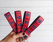 Tennessee Keychain - Tennessee Key Fob- Tennessee Tristar Flag - Wrist Lanyard