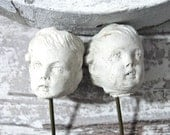 Creepy Doll Heads On a Metal Pick - Unfinished Rough Unglazed Doll Making Parts Supplies Halloween Decor New Old Stock
