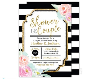 couples wedding shower invitation black and gold wedding shower invitation bridal shower invitation