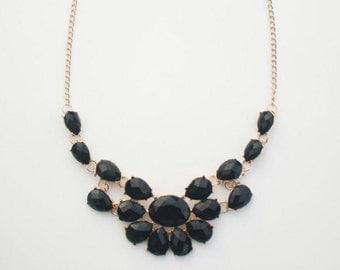 Black chunky statement necklace