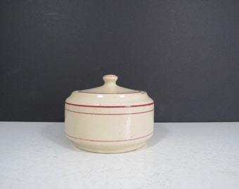 "Restaurant Ware Sugar Bowl // Vintage Carr China ""Glo-Tan"" Burgundy Maroon Stripe Sugar Bowl with Lid Diner Style Thick China West Virginia"