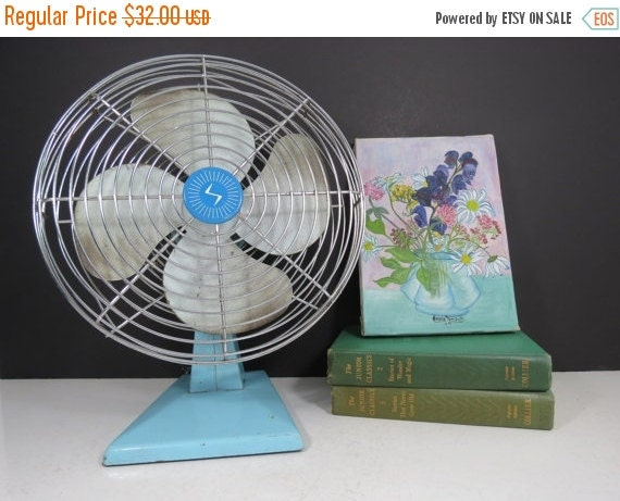 Spring Sale Vintage Aqua Blue Fan Non Working By Thisattic