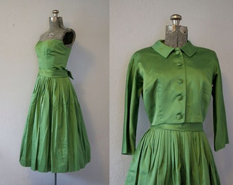 1950's Nicholas Ungar Green Satin Party Dress / Size Small