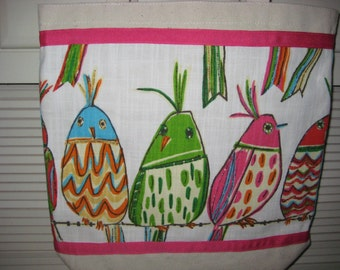 Funky Colorful Big Bird Bag, Pink Lime Green Bird Natural Tote, Reusable Grocery Bag, Ohio Tote