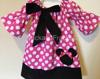 Pink Polka Dot Mouse Peasant Dress