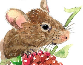 ACEO ORIGINAL in watercolor, Mouse with raspberry, Animal art by Anna Lee