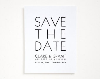TROPEZ Letterpress Save the Dates - Bold Wedding / Modern Typography