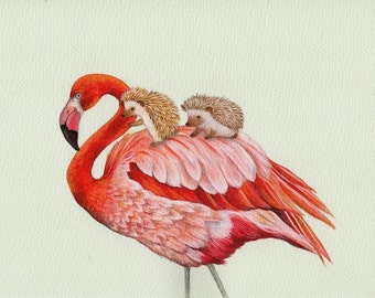 Flamingo and Hedgehogs, Alice in Wonderland Croquet, art print