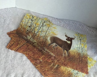 Halloween Sale Vintage Deer Paper Placemats by the Fort Howard Paper Company of Green Bay Wisconsin