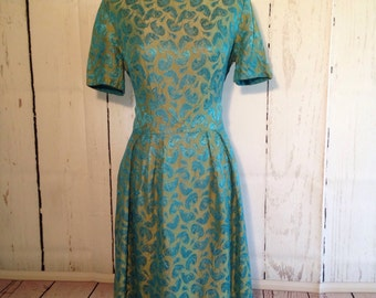 Vintage 60s 50s Style Day Dress - Feather dress - Teal Feathers - Hand Sewn