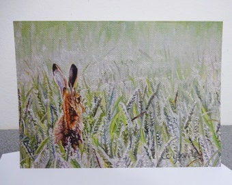 Hare A5 Greetings Card - Waiting on a Whisper - 210mm x 148mm blank own message card hare field textured landscape printed wildlife art
