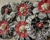 PAPER FLOWERS set/3 Black White Tea Rose Floral Paper Rose