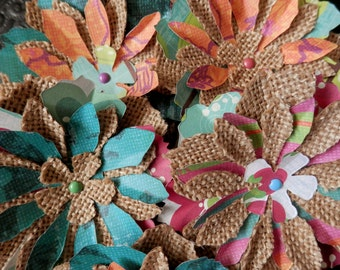 SALE - BURLAP FLOWERS 3 Burlap Fabric Acid Free Paper Fun Colorful