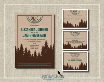 Printable Wedding Invitation Kraft Mountain - Nature Wedding - Outdoor Mountain Wedding - Custom Colors