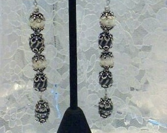 """4"""" long beautiful earrings,black and white,pewter,carved bone and porcelain"""