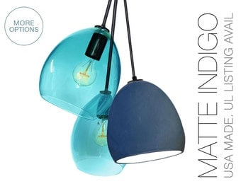 Matte Indigo Clay  & Hand Blown Aqua Glass 3 Pendant Chandelier- MADE IN USA