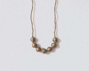 Gold Paper Bead Necklace