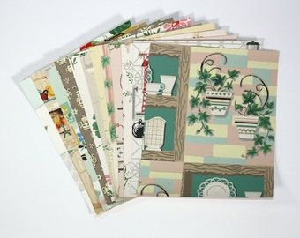 Vintage Wallpaper Sample Collage Pack (12 Sheets, 8 1/2 in. x 10 1/2 in.) - Kitchen Vintage Wallpaper Scraps
