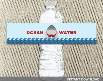 Water Bottle Labels - Shark - Birthday - Take a Bite Summer BBQ - Happy Birthday - Instant Download - DIY Digital Decorations