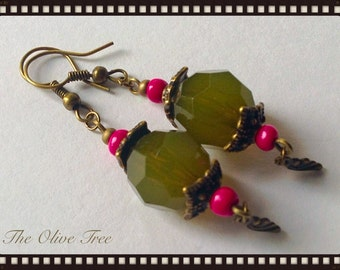 Olive Green Lucite & Pink Bead Dangle Earrings - Boho Earrings - Hippie Earrings - Gypsy Earrings