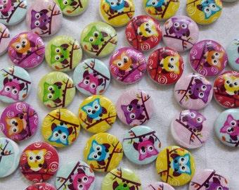 Bottoni gufo gufi 20 pezzi 20 mm legno wood buttons owl glamour moda bimbi baby cucito painted wooden