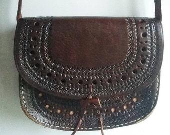 SALE Vintage 1970's Leather Handbag