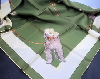 1950s Poodle Scarf Hand Rolled Green Kitsch Accessorie