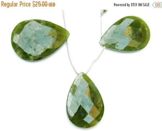 20 off. 3 Piece set-Vessonite (Vesuvianite)Faceted Pears shape Briolettes, Extra Large beads Size 22-27mm long Approx