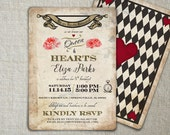 Mad Hatter Birthday Invitation | Mad Hatter Tea Party Idea | Alice in Wonderland Playing Card Invitation | Vintage Mad Hatter Invite