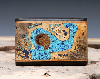 Exotic Wood, Ammonite Fossil, Turquoise and Lapis Inlaid Belt Buckle - Handmade